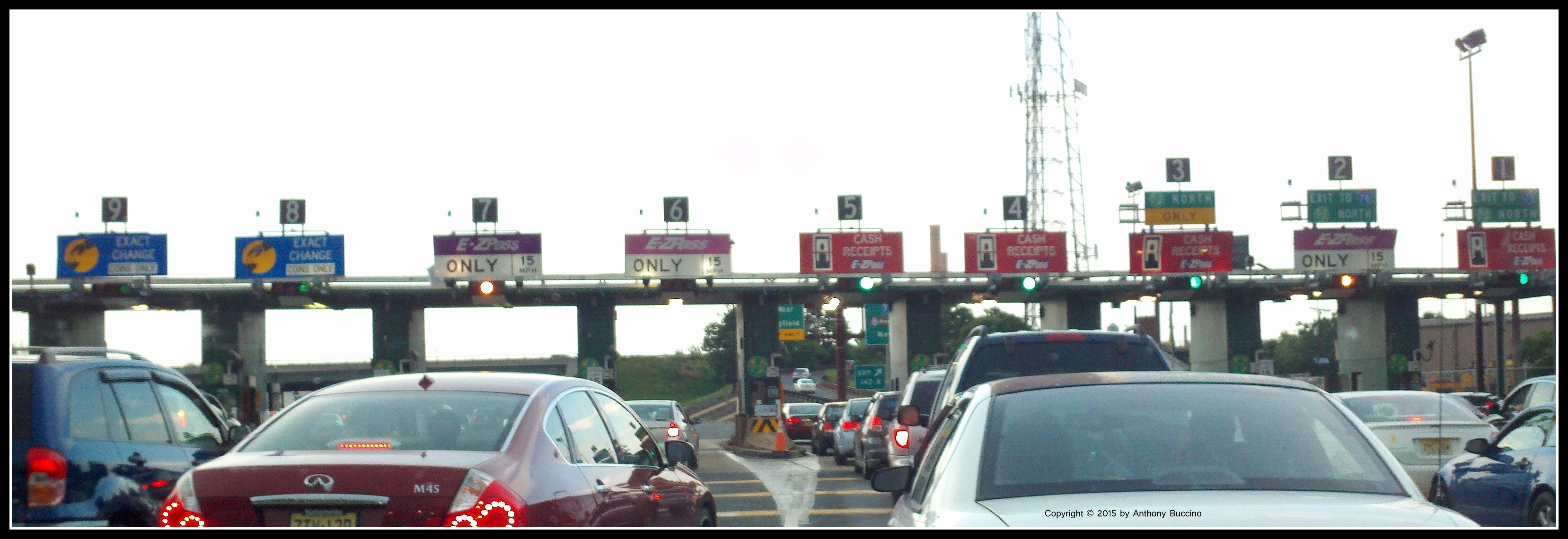 Garden State Parkway toll booth traffic jam, e-zpass